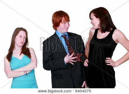 Teen Girls Fighting Over Blushing Boy