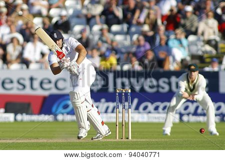 CHESTER LE STREET, ENGLAND - August 09 2013: Tim Bresnan batting during day one of the Investec Ashes 4th test match at The Emirates Riverside Stadium, on August 09, 2013 in London, England.