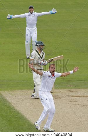 CHESTER LE STREET, ENGLAND - August 10 2013: Matt Prior and Stuart Broad appeal for the wicket of Chris Rogers during day two of the Investec Ashes 4th test match at The Emirates Riverside Stadium