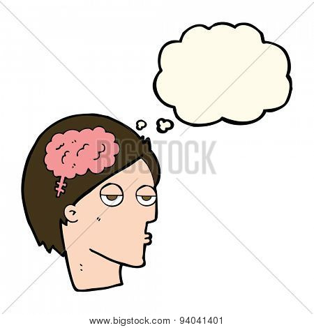 cartoon head with brain symbol with thought bubble