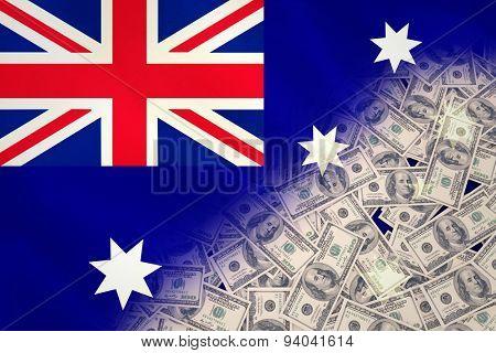 Pile of dollars against australian flag