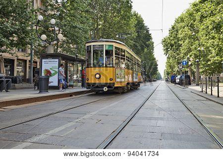Old Vintage Orange Tram