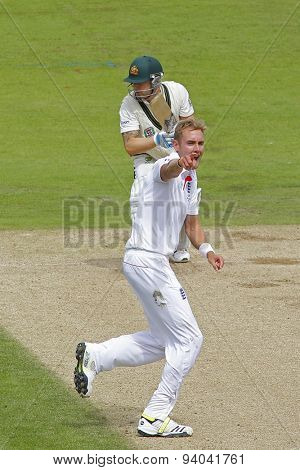 CHESTER LE STREET, ENGLAND - August 10 2013: Stuart Broad appeals for the wicket of Michael Clarke during day two of the Investec Ashes 4th test match at The Emirates Riverside Stadium