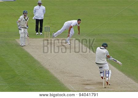 CHESTER LE STREET, ENGLAND - August 10 2013: Tim Bresnan bowls the ball to Shane Watson during day two of the Investec Ashes 4th test match at The Emirates Riverside Stadium, on August 10, 2013