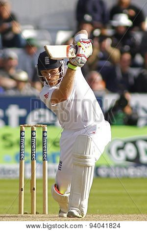 CHESTER LE STREET, ENGLAND - August 11 2013: Ian Bell batting during day three of the Investec Ashes 4th test match at The Emirates Riverside Stadium, on August 11, 2013 in London, England.