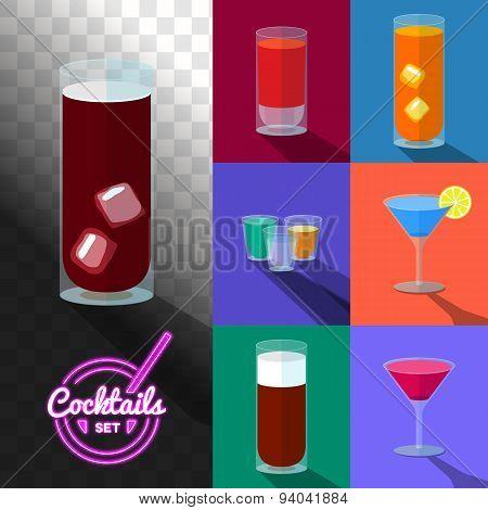 Set of cocktails in transparent glasses