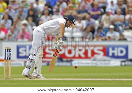 CHESTER LE STREET, ENGLAND - August 11 2013: Alastair Cook plays a shot during day three of the Investec Ashes 4th test match at The Emirates Riverside Stadium, on August 11, 2013 in London, England.