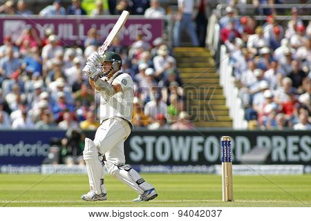 CHESTER LE STREET, ENGLAND - August 11 2013: Ryan Harris batting during day three of the Investec Ashes 4th test match at The Emirates Riverside Stadium, on August 11, 2013 in London, England.
