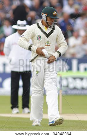 CHESTER LE STREET, ENGLAND - August 12 2013: Usman Khawaja fits some protective equipment during day four of the Investec Ashes 4th test match at The Emirates Riverside Stadium