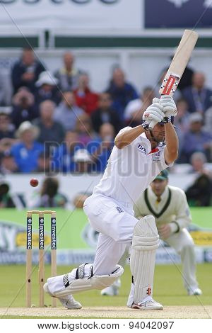 CHESTER LE STREET, ENGLAND - August 11 2013: Alastair Cook hits the ball and is caught out during day three of the Investec Ashes 4th test match at The Emirates Riverside Stadium