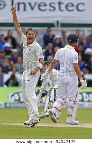 CHESTER LE STREET, ENGLAND - August 11 2013: Ryan Harris celebrates taking the wicket of Jonathan Trott during day three of the Investec Ashes 4th test match at The Emirates Riverside Stadium