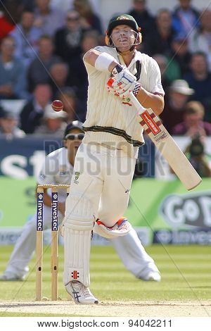 CHESTER LE STREET, ENGLAND - August 12 2013: David Warner gets hit by a  bouncer during day four of the Investec Ashes 4th test match at The Emirates Riverside Stadium, on August 12, 2013
