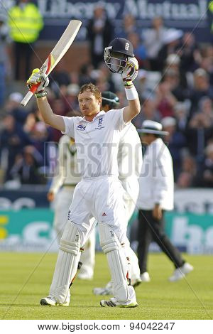 CHESTER LE STREET, ENGLAND - August 11 2013: Ian Bell raises his bat to acknowledge the crowd after scoring a century during day three of the Investec Ashes 4th test match