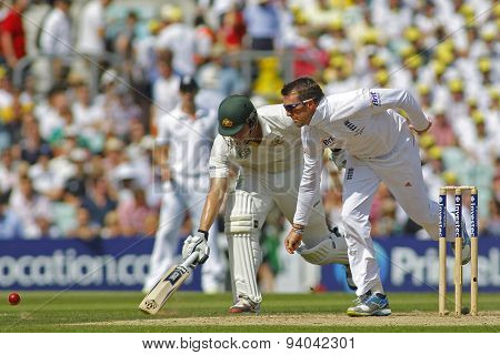 LONDON, ENGLAND - August 21 2013: Shane Watson and Graeme Swann during day one of the 5th Investec Ashes cricket match between England and Australia played at The Kia Oval Cricket Ground
