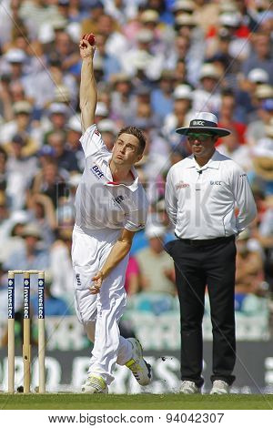 LONDON, ENGLAND - August 21 2013: Chris Woakes bowling during day one of the 5th Investec Ashes cricket match between England and Australia played at The Kia Oval Cricket Ground on August 21, 2013