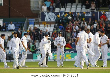 CHESTER LE STREET, ENGLAND - August 12 2013: England players celebrate winning the match and winning the Ashes during day four of the Investec Ashes 4th test match