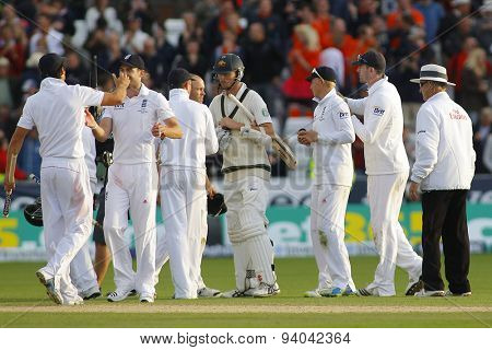 CHESTER LE STREET, ENGLAND - August 12 2013: England players celebrate winning the match and winning the Ashes during day four of the Investec Ashes 4th test match at The Emirates Riverside Stadium,