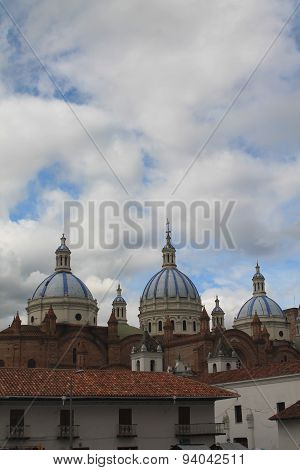 Blue And White Tiled Domes Of The New Cathedral, Cuenca, Ecuador