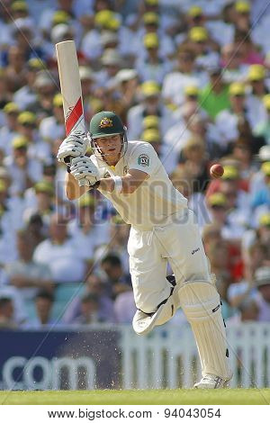 LONDON, ENGLAND - August 21 2013: Steven Smith plays a shot during day one of the 5th Investec Ashes cricket match between England and Australia played at The Kia Oval Cricket Ground