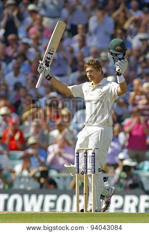 LONDON, ENGLAND - August 21 2013: Shane Watson raises his bat to acknowledge the crowd after scoring a century during day one of the 5th Investec Ashes cricket match between England and Australia