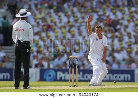 LONDON, ENGLAND - August 21 2013: Simon Kerrigan makes an unsuccessful appeal for a wicket during day one of the 5th Investec Ashes cricket match between England and Australia