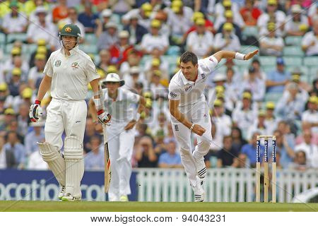 LONDON, ENGLAND - August 22 2013: Peter Siddle and James Anderson during day two of the 5th Investec Ashes cricket match between England and Australia played at The Kia Oval Cricket Ground