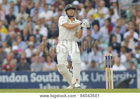 LONDON, ENGLAND - August 22 2013: James Faulkner plays a shot during day two of the 5th Investec Ashes cricket match between England and Australia played at The Kia Oval Cricket Ground