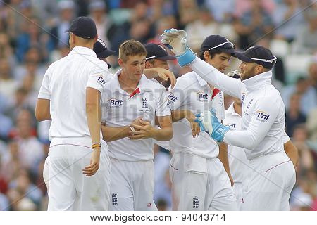 LONDON, ENGLAND - August 22 2013: England players congratulate Chris Woakes on his maiden wicket during day two of the 5th Investec Ashes cricket match between England and Australia