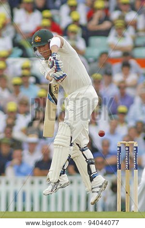 LONDON, ENGLAND - August 22 2013: Brad Haddin plays a shot during day two of the 5th Investec Ashes cricket match between England and Australia played at The Kia Oval Cricket Ground