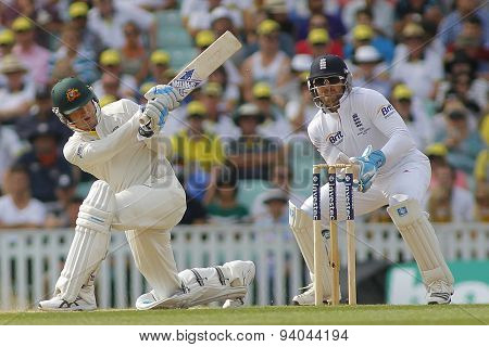 LONDON, ENGLAND - August 25:  Michael Clarke plays a shot as Matt Prior looks on during the Investec Ashes cricket match between England and Australia played at The Kia Oval Cricket