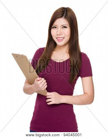 Asian woman hold with clipboard