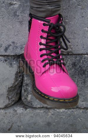 Cute Pink military boot - girl shoe
