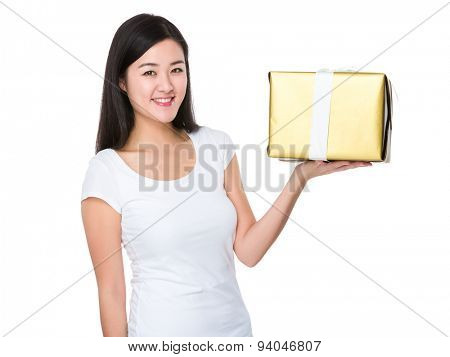 Student showing with golden giftbox