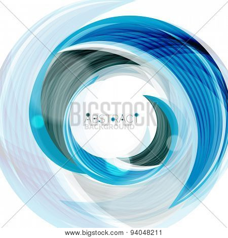 Vector blue swirl line abstract background. Modern layout for your message, slogan or brand name