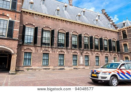 Police Control In The Binnenhof In The Hague