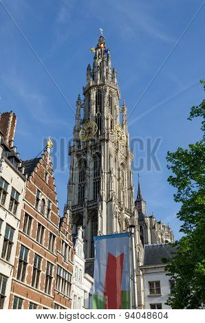 Tower Of Cathedral Of Our Lady In Antwerp