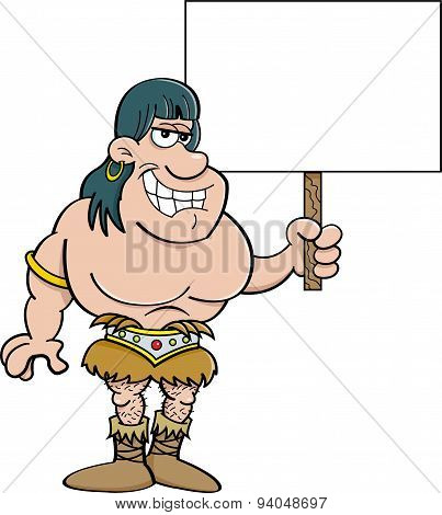 Cartoon barbarian holding a sign.