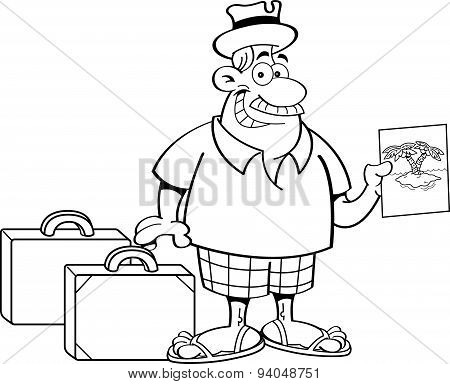 Cartoon man with suitcases.