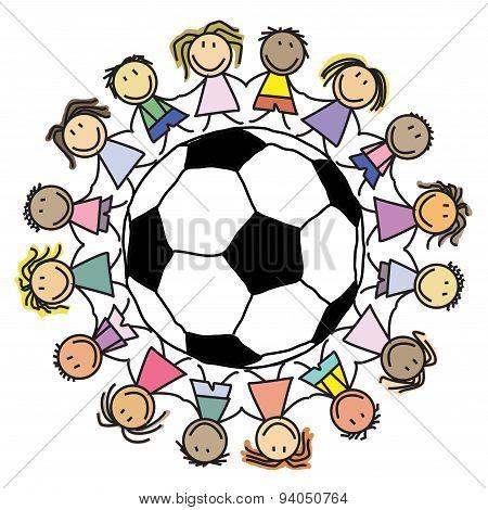 Kids soccer - group children on football / globe illustration