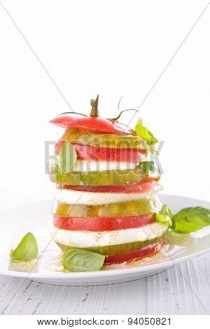 tomato,mozzarella and basil