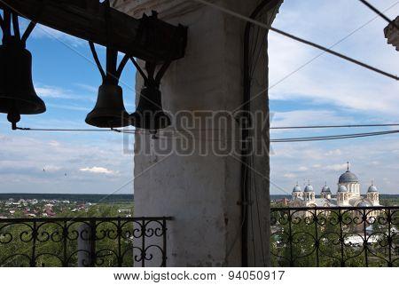 Verkhoturye. On the bell tower of Trinity Cathedral. Sverdlovsk region.