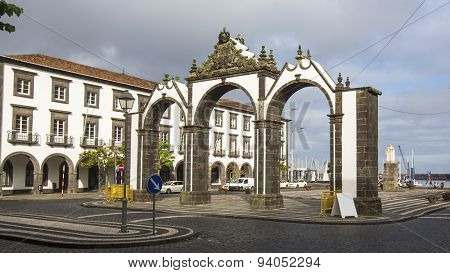 View of the city gates in Ponta Delgada, Azores, Portugal.