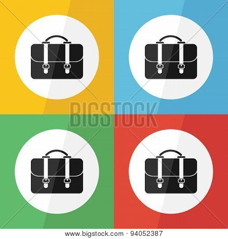 Bag Icon ( Flat Design ) On Different Color Background ( Back To School Or Business Concept )