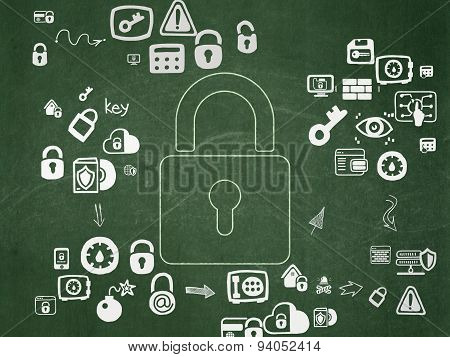 Safety concept: Closed Padlock on School Board background