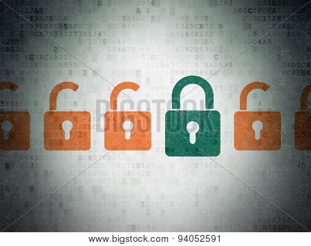 Privacy concept: closed padlock icon on Digital Paper background