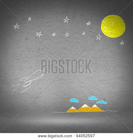 Background image with flying drawn rocket