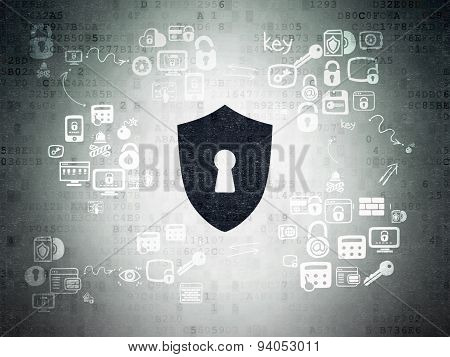 Privacy concept: Shield With Keyhole on Digital Paper background