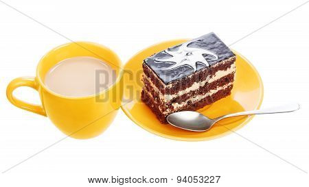 Cup of coffee and chocolate cake on orange plate