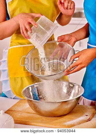 Female hands   baking cookies in home kitchen