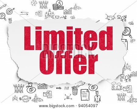 Business concept: Limited Offer on Torn Paper background
